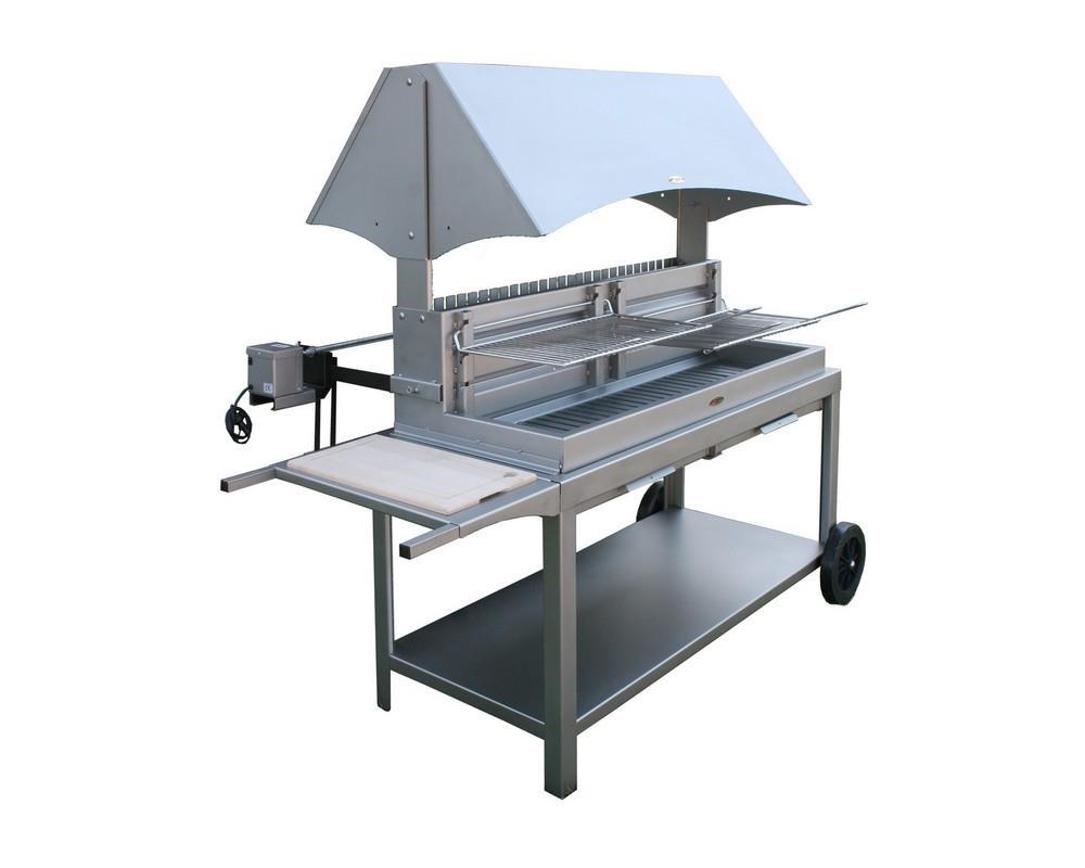M choui barbecue inox sur chariot le marquier - Grille pour barbecue sur mesure en acier inox ...